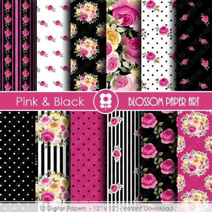 Digital Paper, Black & Hot Pink Dig..