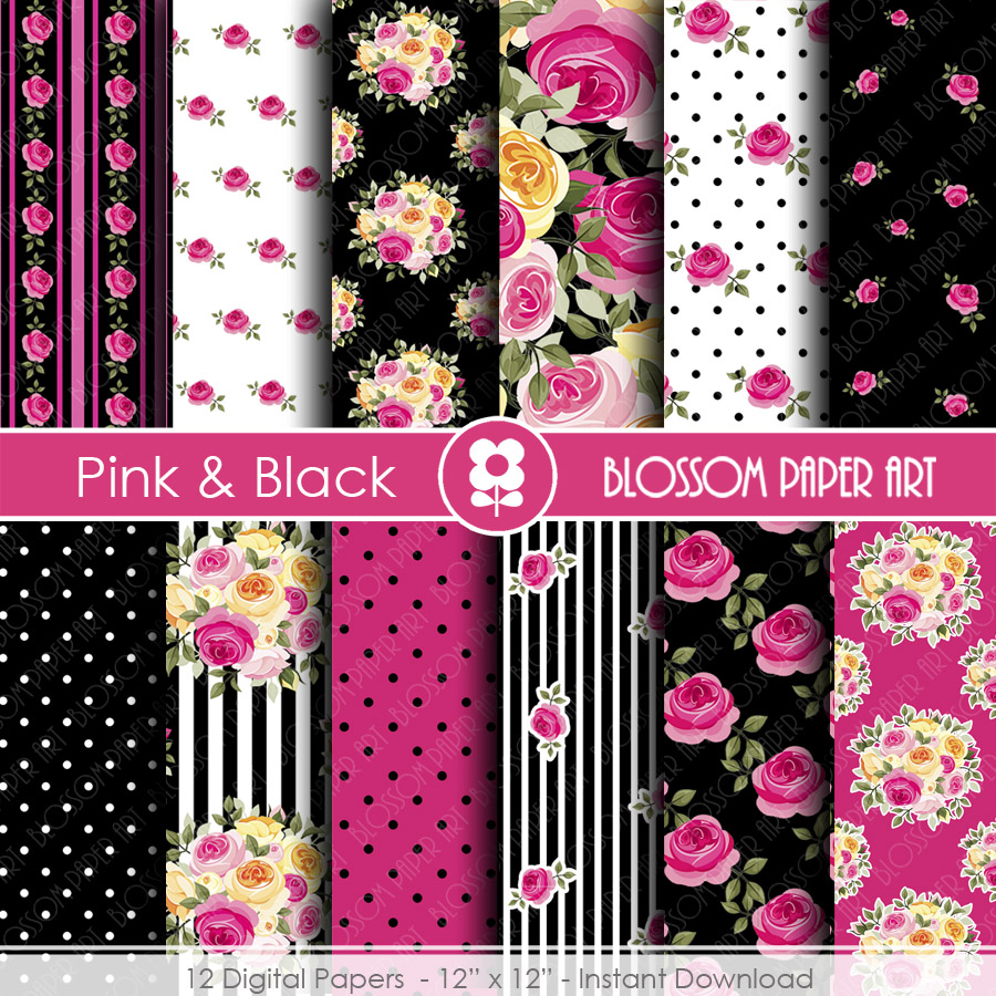 Digital Paper, Black & Hot Pink Digital Paper Scrapbook Paper Pack, Scrapbooking, Roses in Hot Pink and Black - 1771