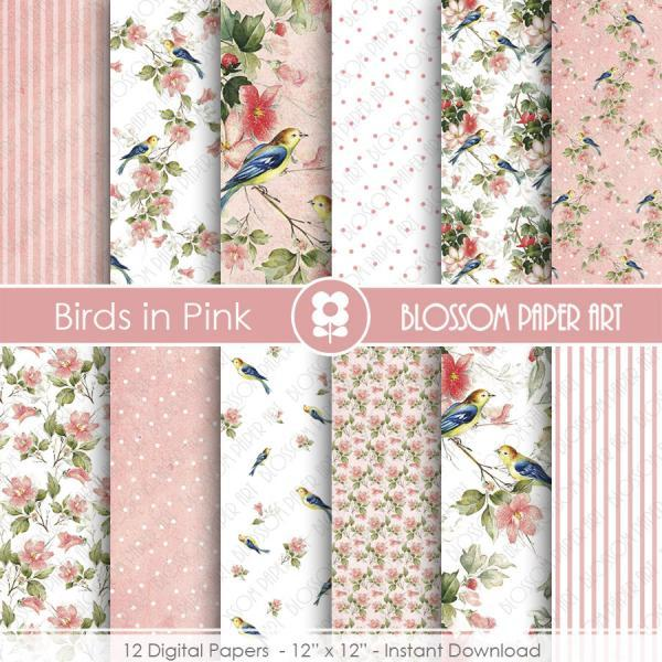 Digital Paper, Birds Digital Paper Scrapbook Paper Pack, Scrapbooking, Birds & Flowers - 1963