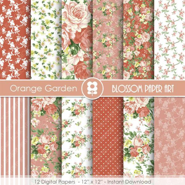 Floral Digital Paper Pack, Orange Floral Digital Papers, Digital Scrapbooking Pack - Roses - 1927