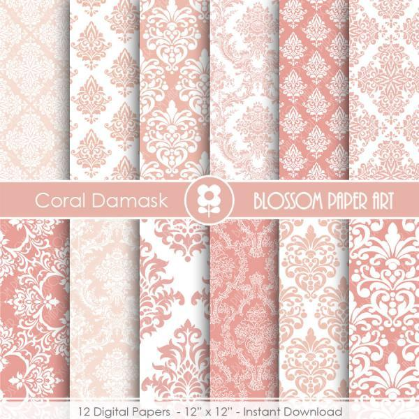 Coral Damask Digital Paper Coral Digital Paper Pack, Scrapbooking, Damask Papers - 1908