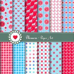 Digital Paper - Scrapbooking - Red - Light Blue - Pink - Printables - DIY Projects - Personal and Commercial Use - 1381